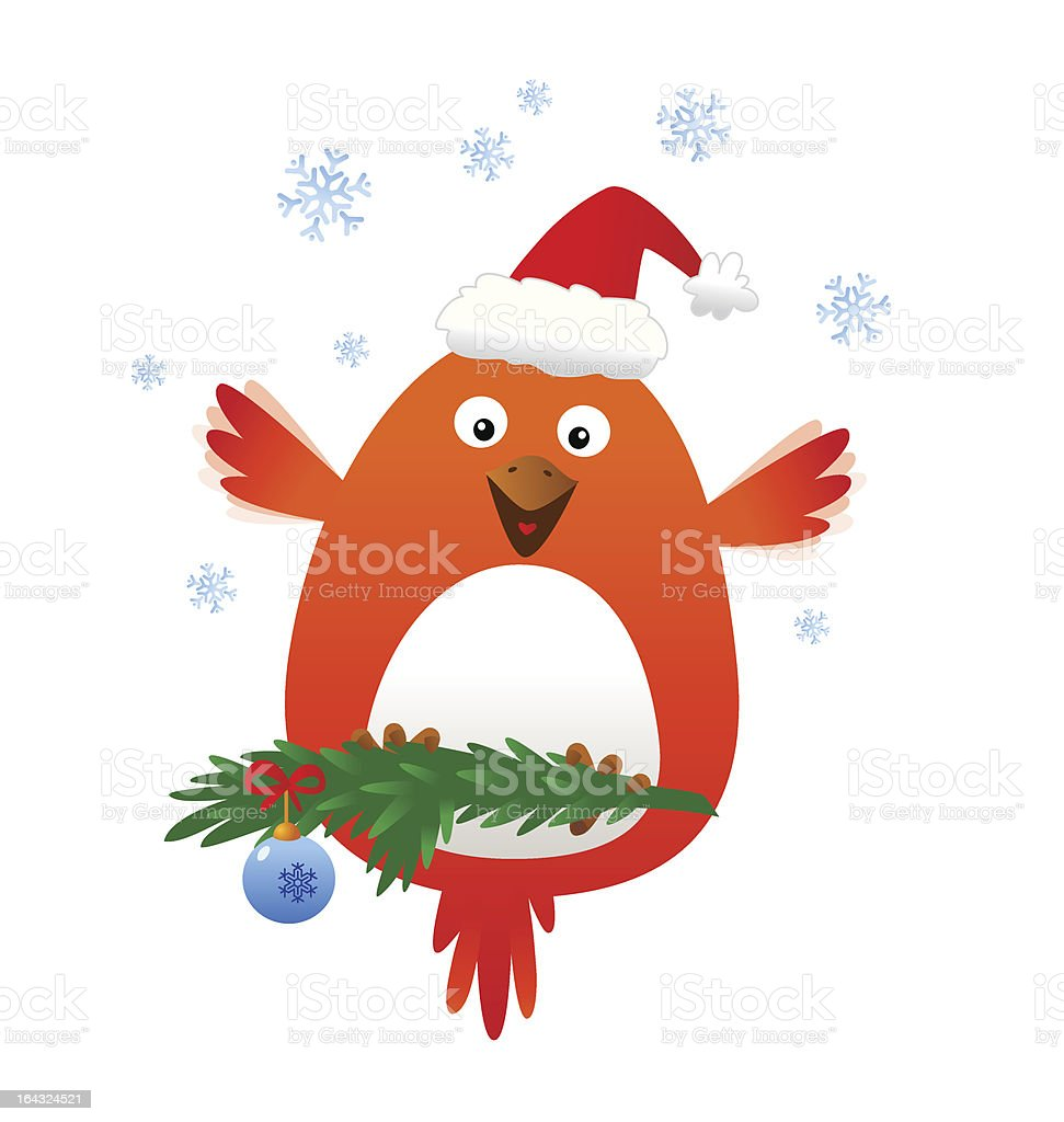 Christmas funny bird royalty-free stock vector art