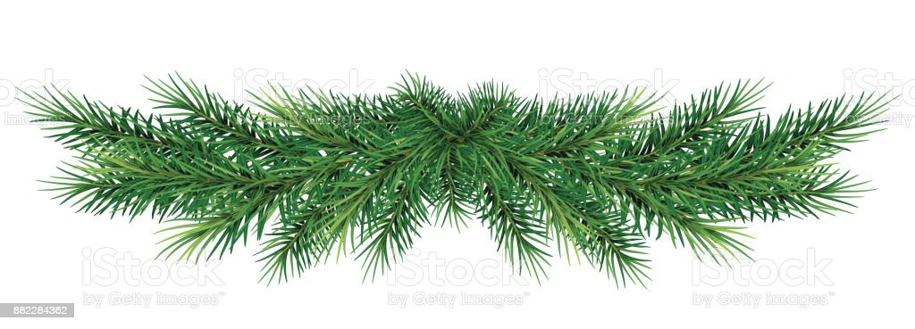 Christmas garland. Beautiful evergreen garland of Xmas tree branches isolated vector art illustration