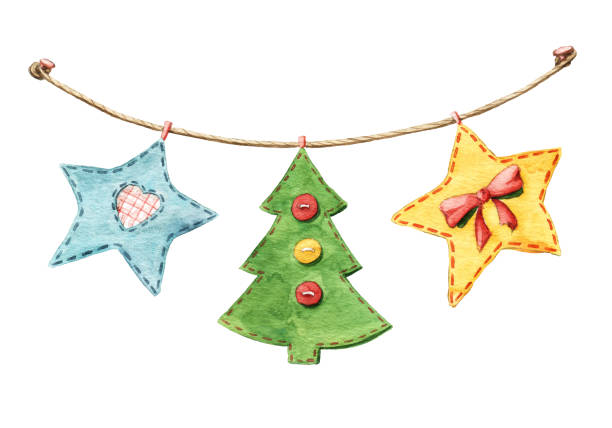 Best Christmas Button Crafts Illustrations Royalty Free