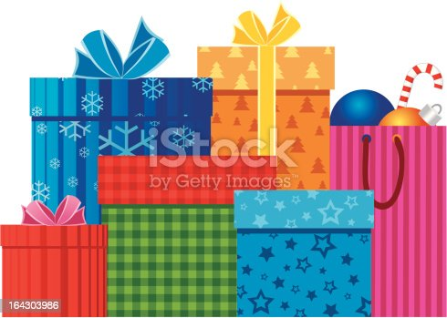 Assorted colorful xmas gift boxes and paper bag