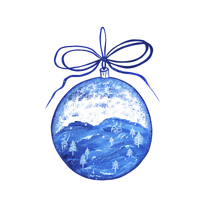 Christmas glass ball with winter landscape and snowfall inside. Isolate. Christmas tree toy with a bow in blue tones. Watercolor hand drawn illustration.