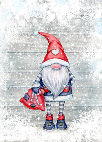 Christmas  gnome  cartoon, greeting card for winter holidays.