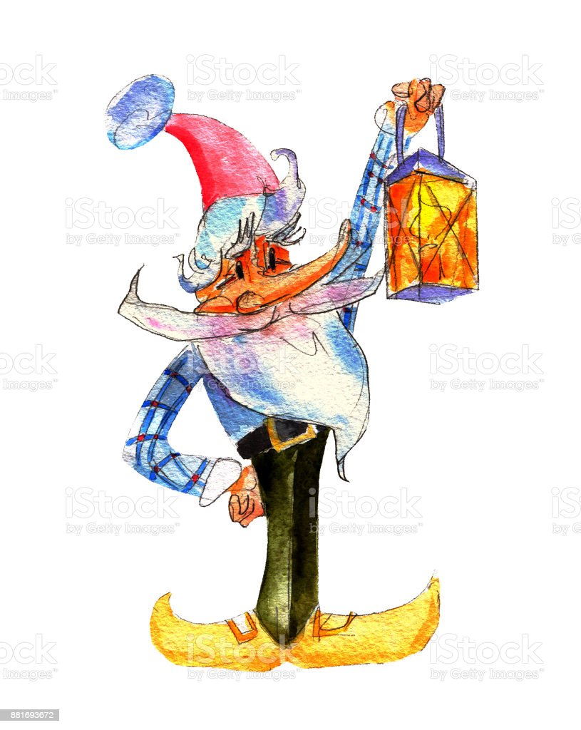 Christmas Gnome Drawing.Christmas Gnome With Lamp Watercolor Illustration Isolated