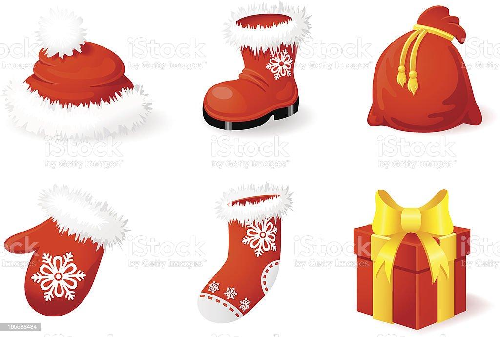 Christmas icon accessories vector art illustration