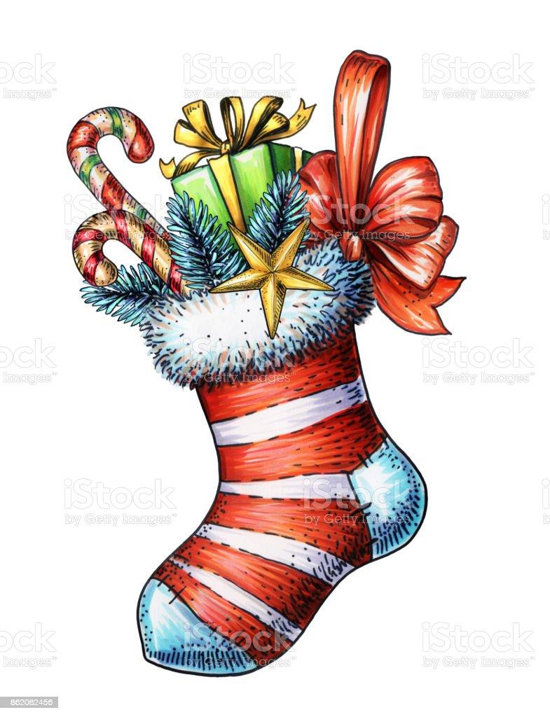 Weihnachtenillustration Urlaub Socke Geschenk Zuckerstange Festliche ...