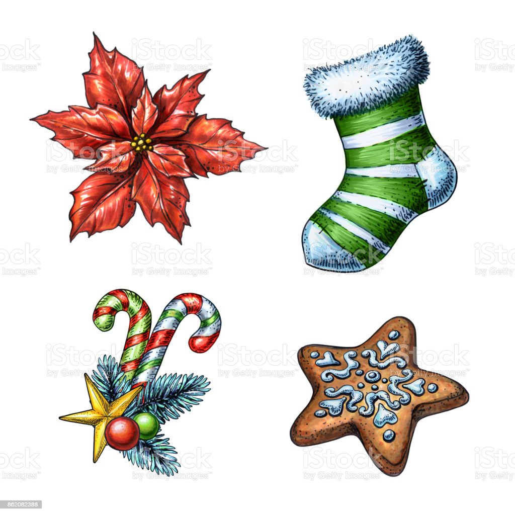 christmas-illustration-poinsettia-flower-holiday-sock-cookie-candy-illustration-id862082388
