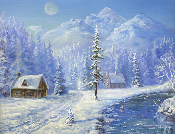 stockillustraties, clipart, cartoons en iconen met christmas  in  mountains - christmas cabin