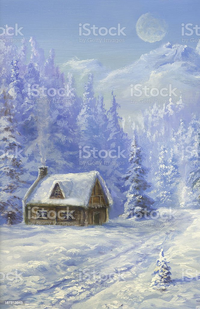 Christmas  in  Mountains royalty-free stock vector art