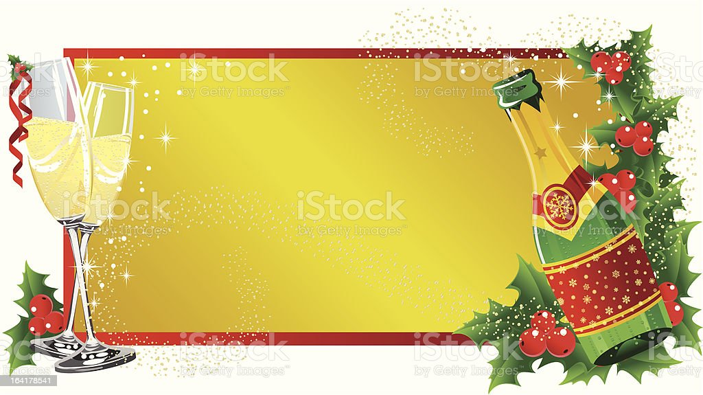 Christmas label champagne royalty-free stock vector art