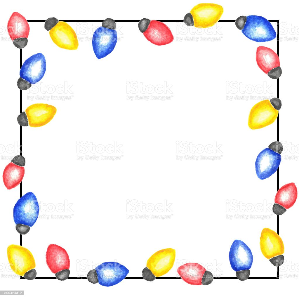 Christmas Lights Square Frame Watercolor Garland Of Blue Red And ...