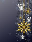 Christmas metallic ornament with snowflake background