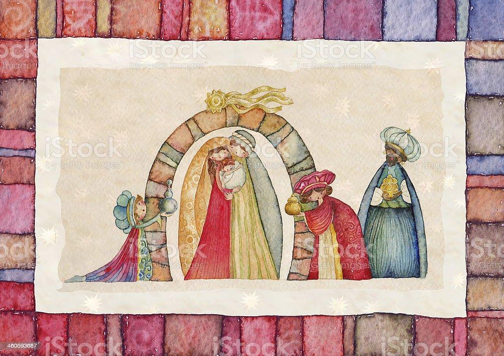 Christmas Nativity scene  Jesus, Mary, Joseph and the Three Kings royalty-free stock vector art