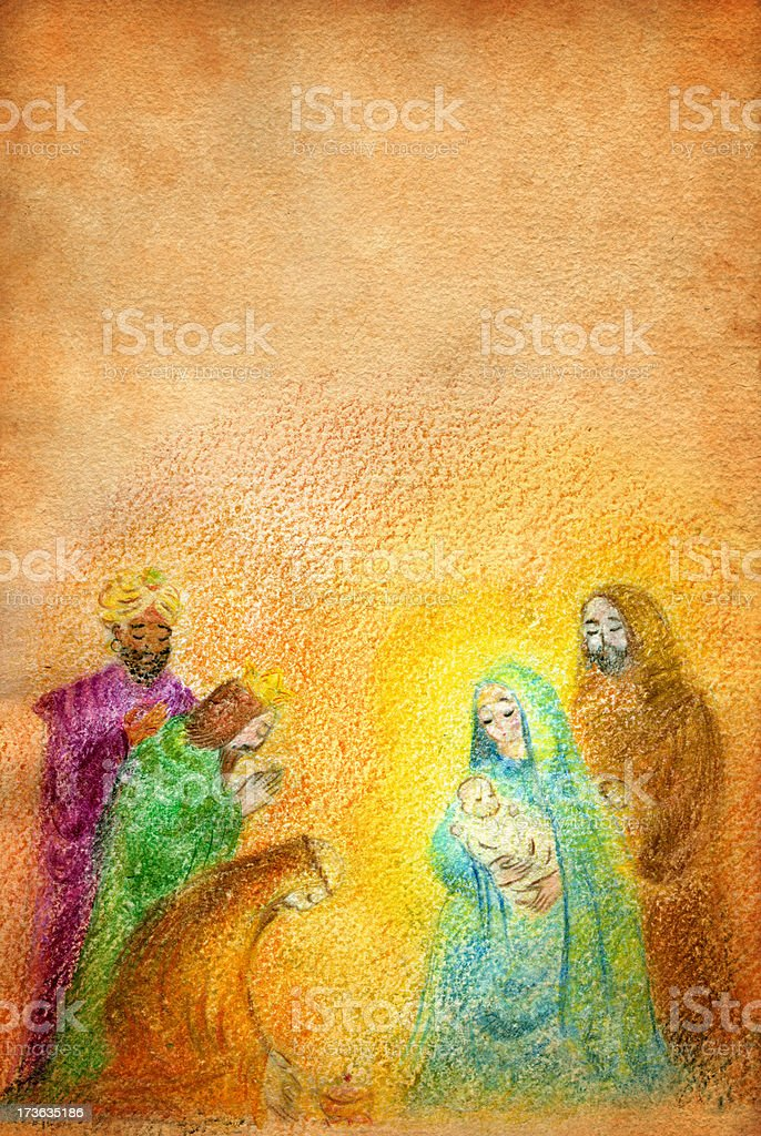 Christmas Nativity with Wise Men royalty-free stock vector art