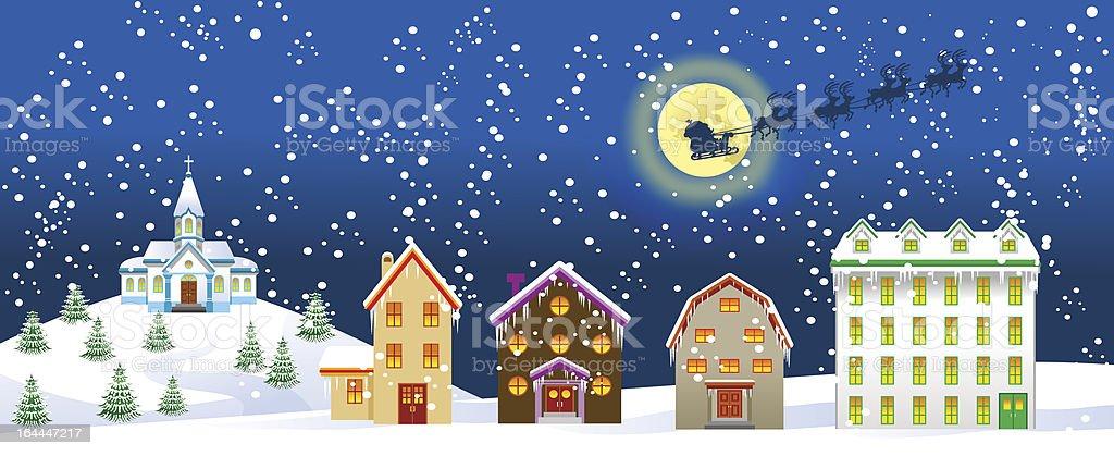 Christmas night in town vector art illustration