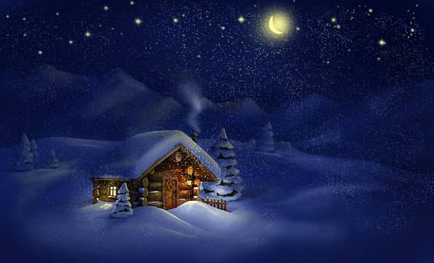 stockillustraties, clipart, cartoons en iconen met christmas night landscape - hut, snow, pine trees - christmas cabin