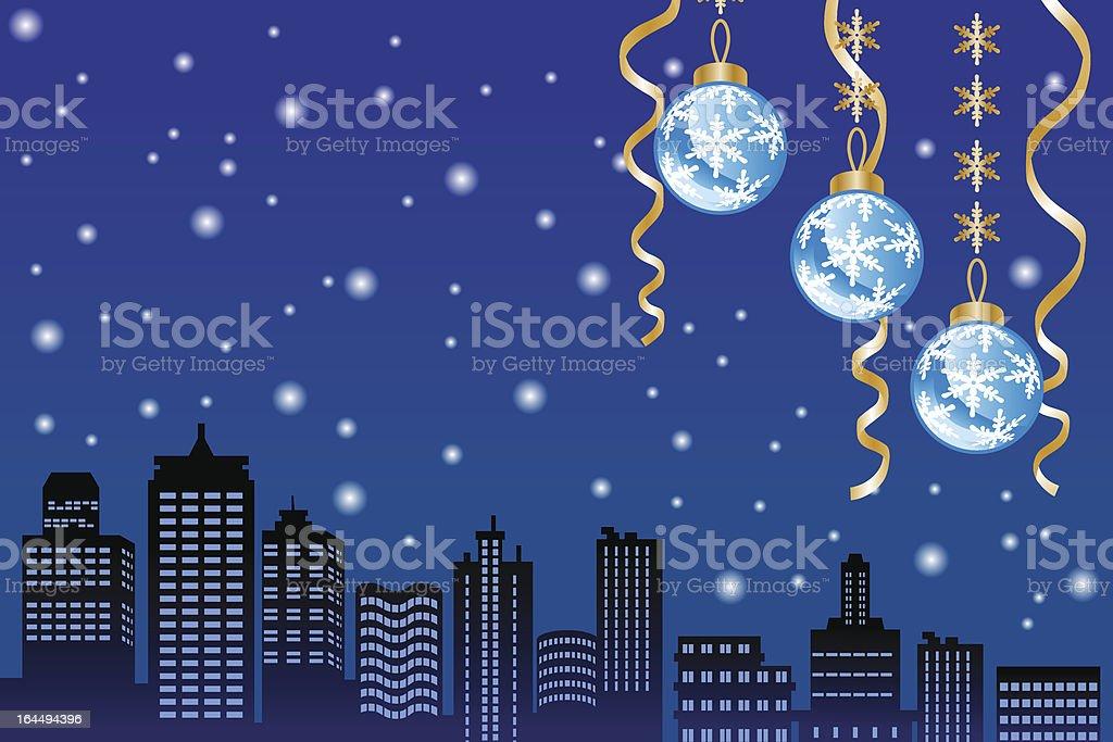 Christmas night snowing city royalty-free stock vector art