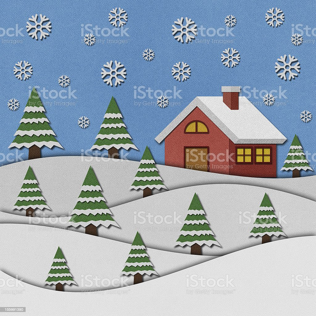 Christmas night with santa recycled papercraft. royalty-free stock vector art
