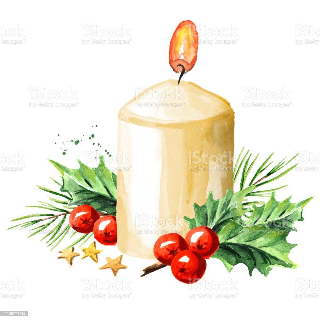 Lilin Natal Atau Advent Dengan Dekorasi Ilustrasi Cat Air Yang ...