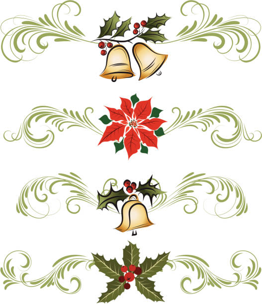 Royalty Free Silhouette Of The Holly Ivy Border Clip Art ...