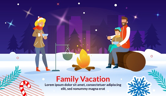 Christmas Outdoor Family Party Advertising Poster
