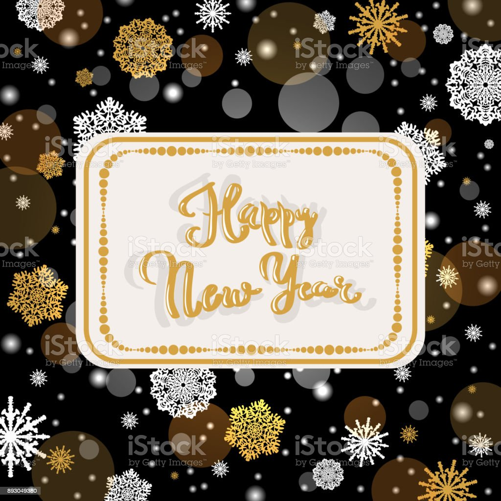christmas party invitation poster template golden christmas frame and new year gold glitter snowflakes decoration