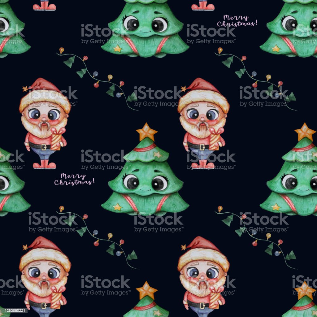 Christmas Pattern Christmas Tree With Face And Eyes Cute Santa With A Gift In His Hands On A Black Background With Festive Decorations Garlands Watercolor Seamless Pattern Stock Illustration Download Image Pluto's christmas tree is a mickey mouse short, released on november 21 , 1952. https www istockphoto com vector christmas pattern christmas tree with face and eyes cute santa with a gift in his gm1283685221 381048656