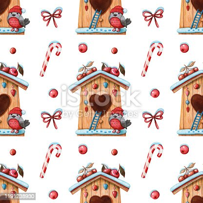 Hand drawn watercolor seamless pattern of wooden birdhouse with bullfinch bird, berries, candy cane and bow isolated on white background. Christmas and winter holidays