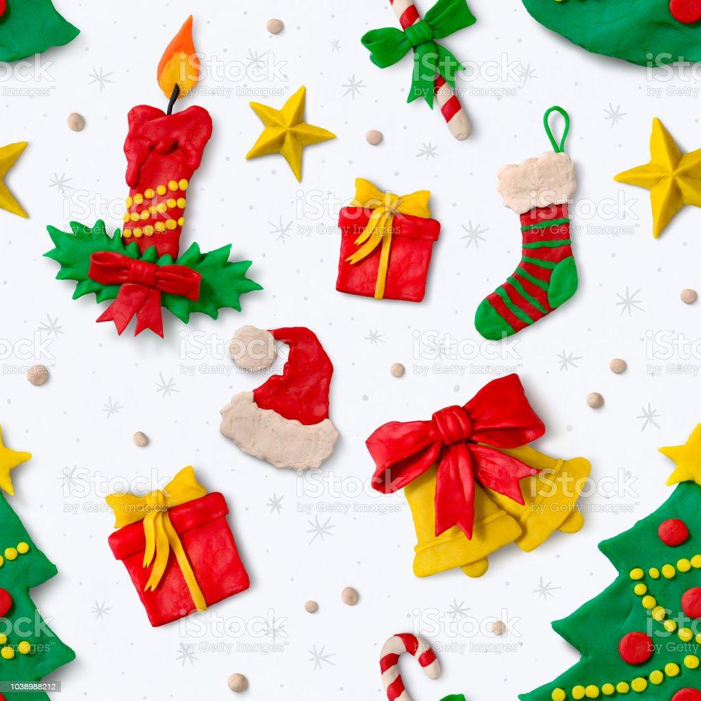 Ilustración De Patrón De Navidad Con Figuras De Plastilina Y Más Vectores Libres De Derechos De Abeto Istock