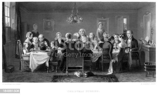Vintage engraving from 1868 after the painting by Thomas Webster  a Victorian family sit down for their Christmas Dinner