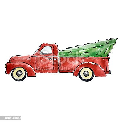 Original water color of old red pickup truck carrying Christmas tree