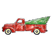 istock Christmas Red Truck 1188508309