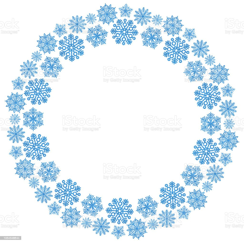 christmas round frame with blue snowflakes on a white background border of sequin confetti