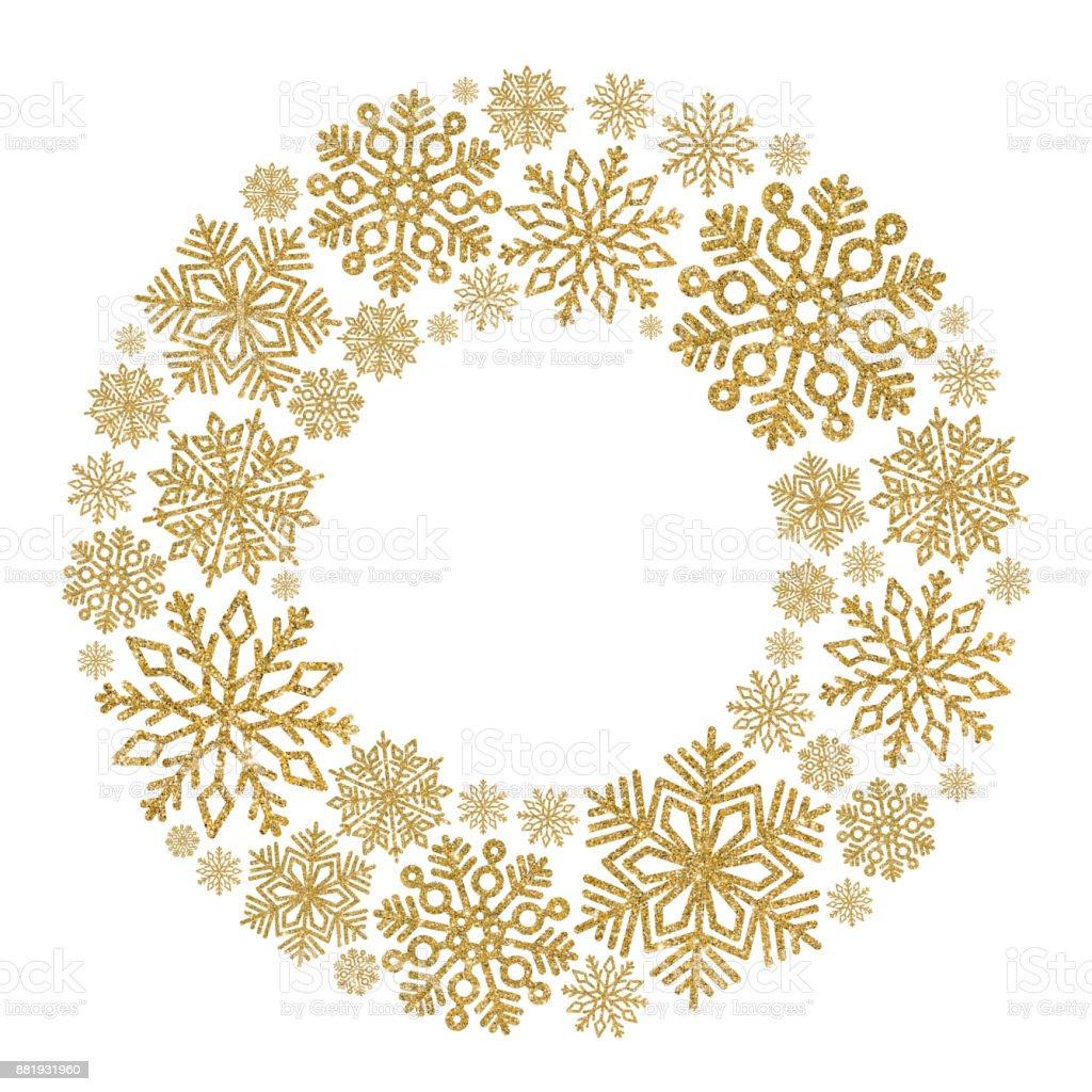 Navidad Redondo Marco Con Copos De Oro Frontera De Confeti De ...