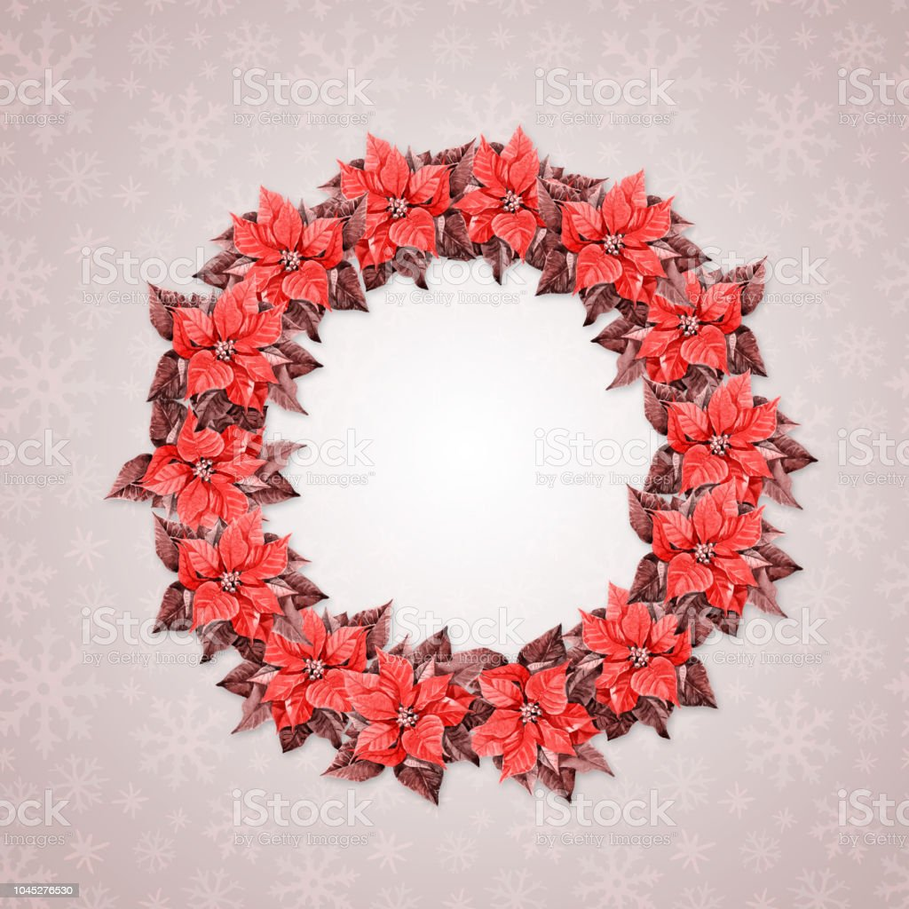 Christmas Round Frame Wreath From Poinsettia Watercolor Illustration