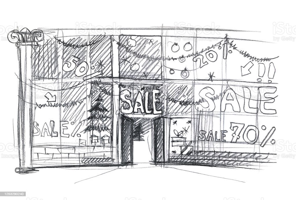 Christmas Sale Shop Window Sketch Simple Pencil Drawing Stock Illustration Download Image Now Istock