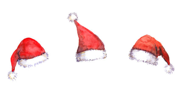 Christmas Santa red hats, watercolor Three Christmas Santa red hats isolated, watercolor santa hat stock illustrations