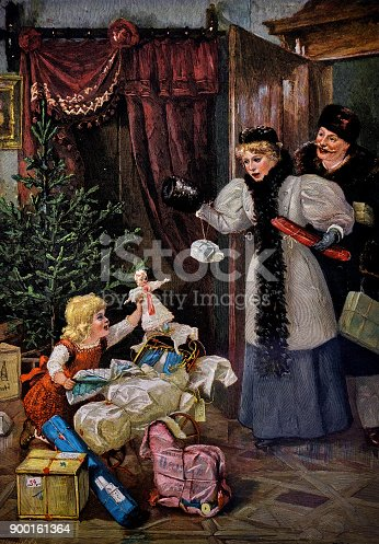 Christmas scene in the living room. Young girl unpacking presents before Christmas. Parents are shocked - 1896