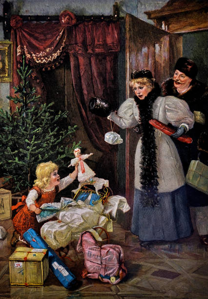 bildbanksillustrationer, clip art samt tecknat material och ikoner med jul scen i vardagsrummet. ung flicka uppackning presenterar före jul. föräldrarna är chockade - 1896 - christmas gift family
