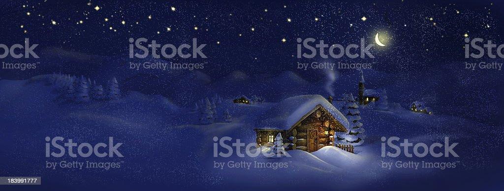 Christmas scenic panorama landscape - huts, church, snow, pine trees vector art illustration