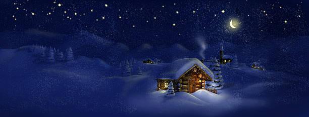 stockillustraties, clipart, cartoons en iconen met christmas scenic panorama landscape - huts, church, snow, pine trees - christmas cabin