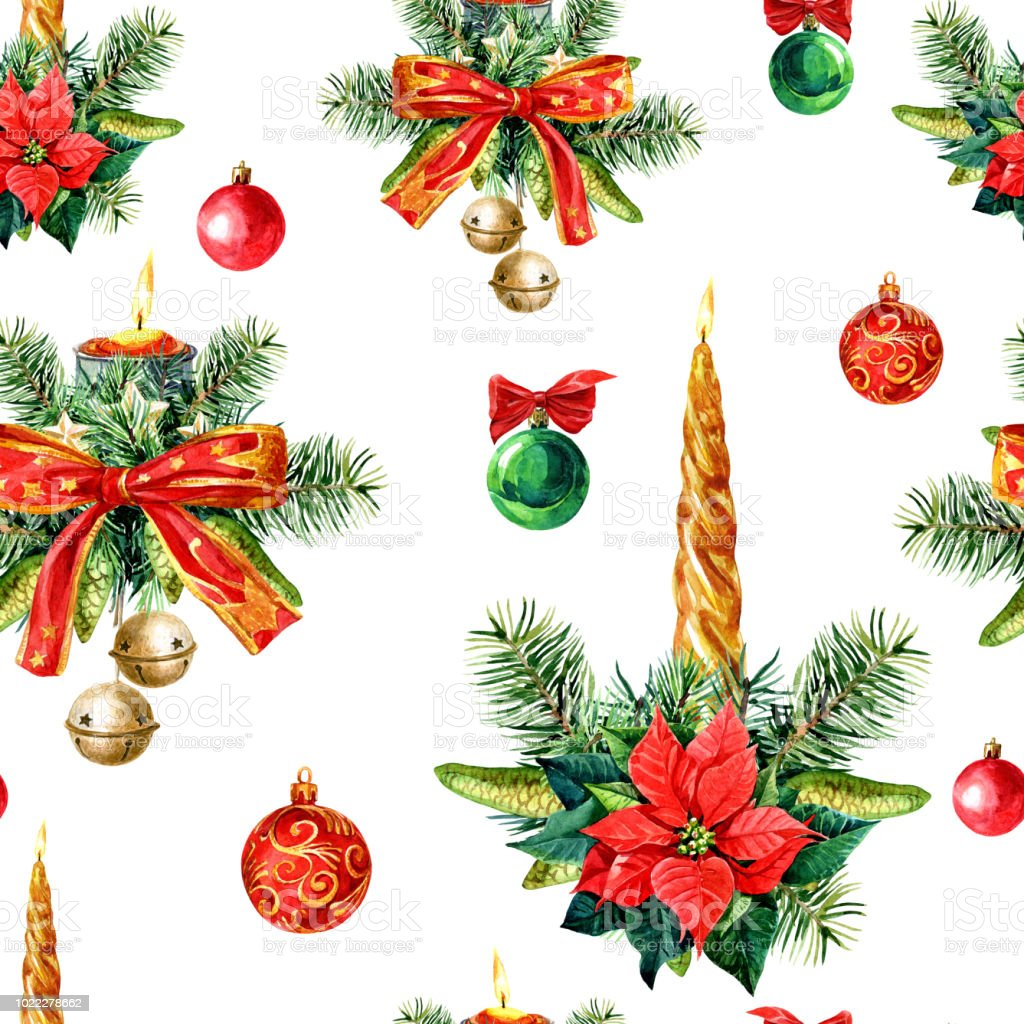 Christmas Seamless Pattern Of Christmas Decorations Watercolor ...