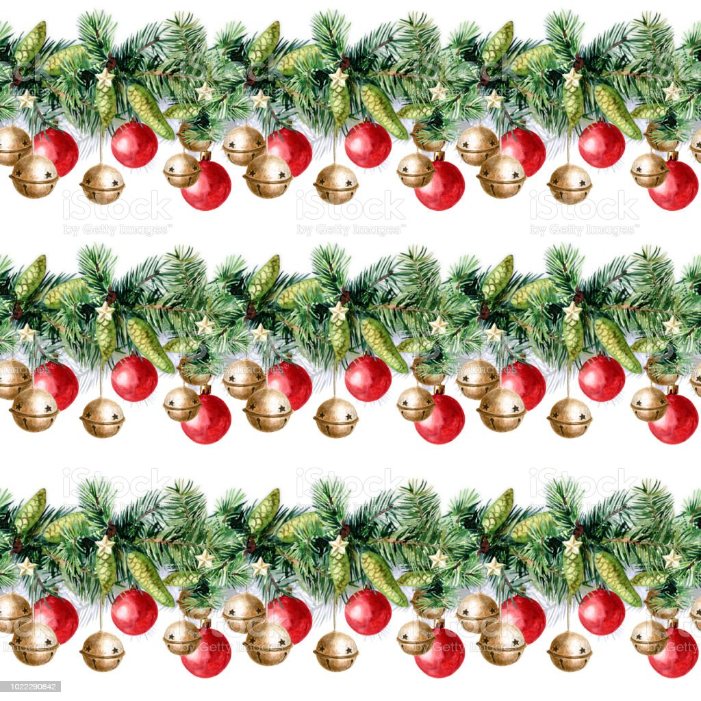 christmas seamless pattern of christmas decorations watercolor illustration royalty free christmas seamless pattern - Candy Christmas Decorations