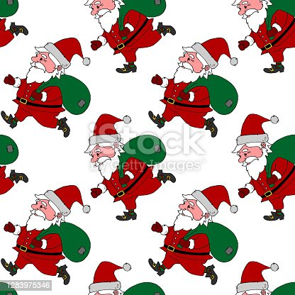 istock Christmas Seamless pattern with Santa Claus. New year Xmas backgrounds and textures. For greeting cards, wrap paper, packaging, kids textile, fabric, prints 1283975346