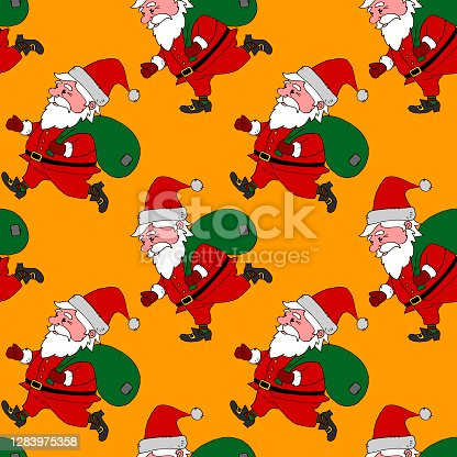 istock Christmas Seamless pattern with Santa Claus. New year Xmas backgrounds and textures. For greeting cards, wrap paper, packaging, kids textile, fabric, prints 1283975358