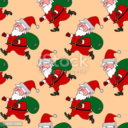 istock Christmas Seamless pattern with Santa Claus. New year Xmas backgrounds and textures. For greeting cards, wrap paper, packaging, kids textile, fabric, prints 1283975368