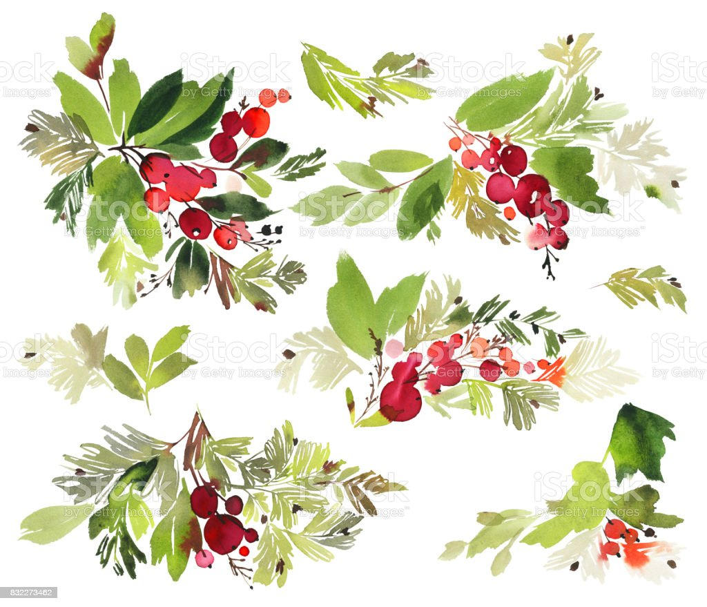 Christmas set. Watercolor painting. vector art illustration