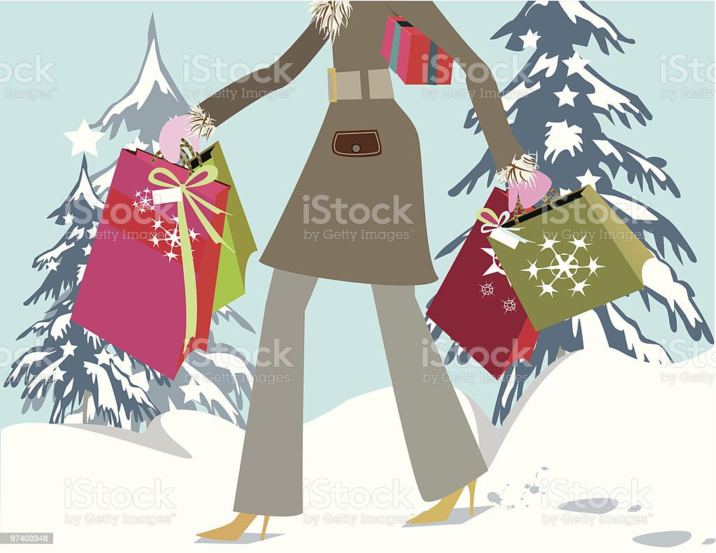 Christmas Shopping royalty-free stock vector art