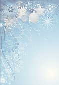 """""""Blue christmas background with baubles, pine cones and snowflakes."""""""