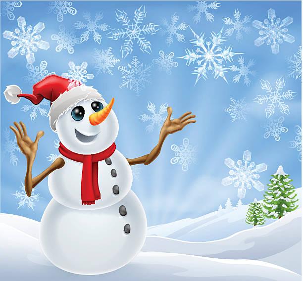 weihnachten schneemann winter landschaft - schneeflocke sonnenaufgang stock-grafiken, -clipart, -cartoons und -symbole
