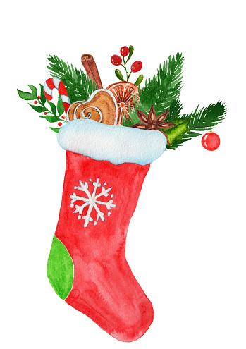 수채화에서 선물 크리스마스 양말입니다 12월에 대한 스톡 벡터 아트 및 기타 이미지